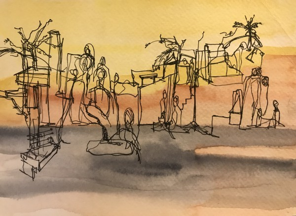 Abstract art by Himani Gupta depicting human bodies occupied in various activites in a community setting